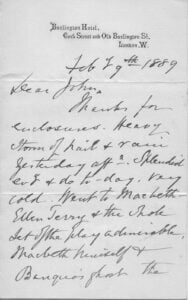 First page of letter from George Henry Strutt