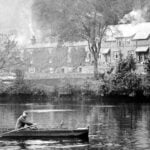 Photograph of man in rowing boat on the Derwent at Belper