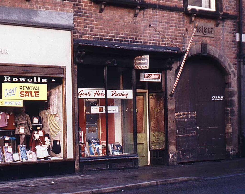 Colour photgraph of old shops on Belper King Street