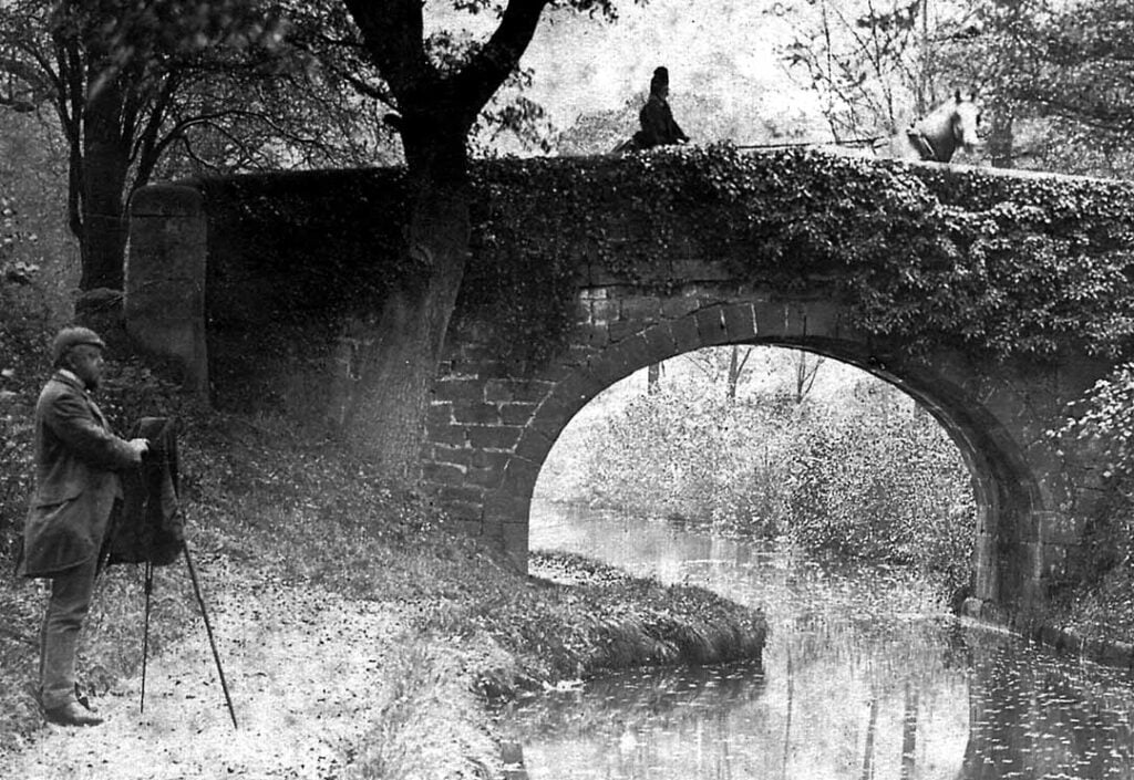 Cromford Canal bridge with photographer and Florence Nightingale in horse drawn carriage.