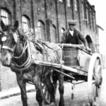 Horse and cart outside Eagle Foundry in Belper