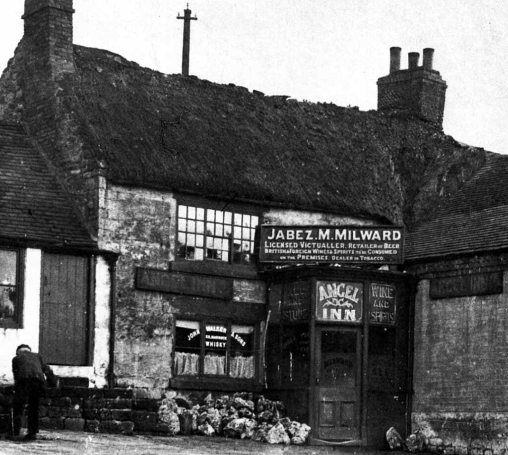 Jabez Milward's Angel Inn on Market Place Belper with thatched roof