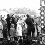 1960's photograph of group of Belper residents looking at well dressing on The Fleet,