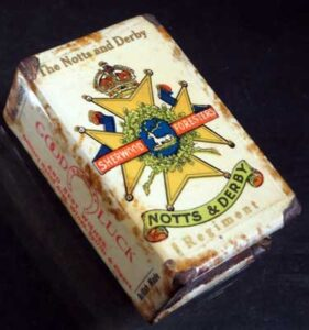 Matchbox tin with Sherwood Foresters insignia