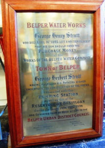 Belper Water Works Plaque framed.
