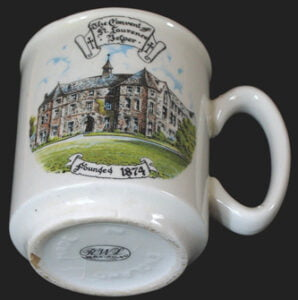 Mug with depiction of St Laurence convent on front